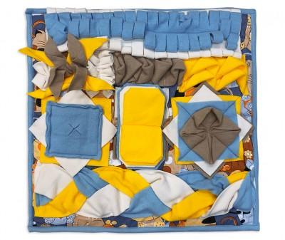 Нюхательный коврик 50*50 / желто-голубой