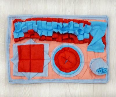 Нюхательный коврик MINIK 45*29 см  / красно-голубой
