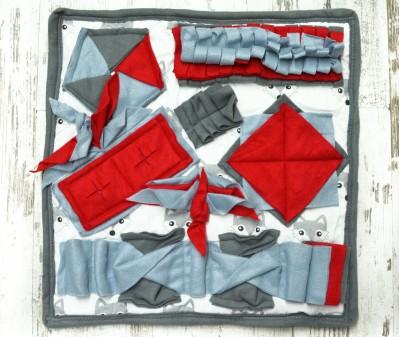 Нюхательный коврик 50*50 / серо-красный , мод 1