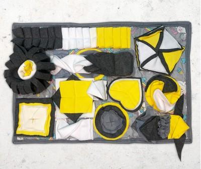 Нюхательный коврик 70*50 / серо-желтый