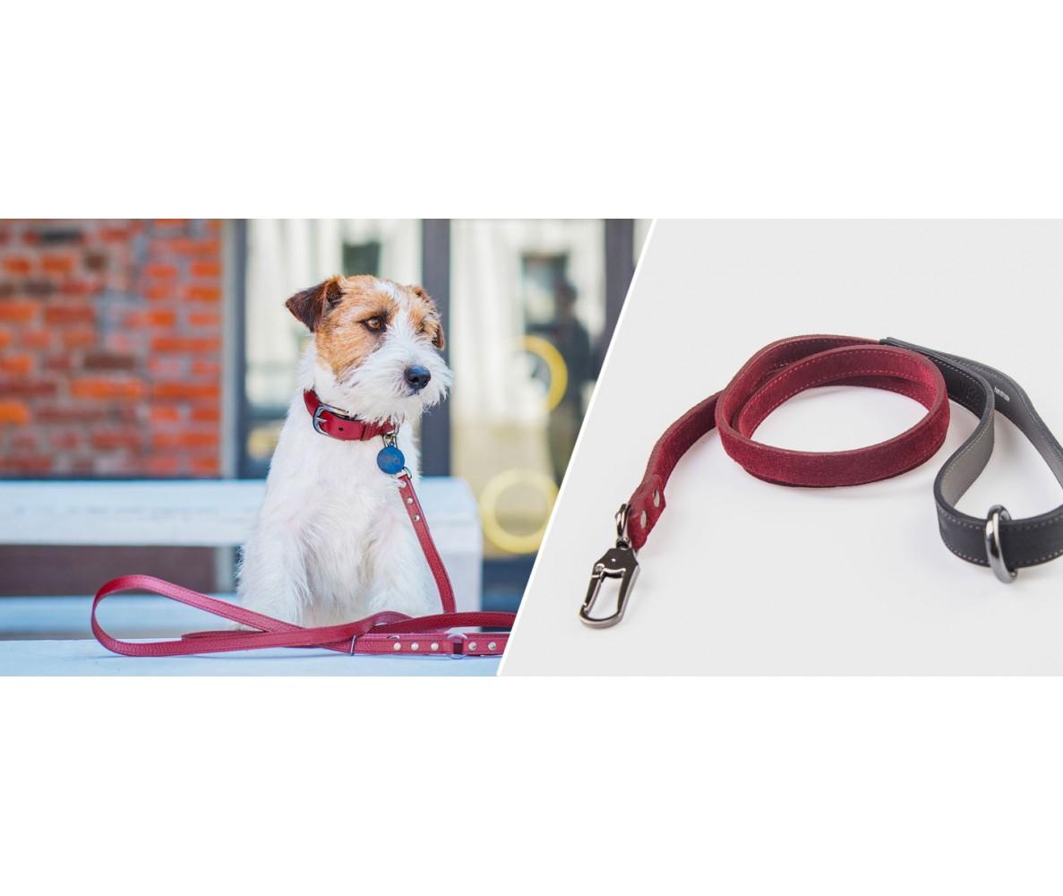 Поводок для собаки кожаный V823  Марсала  | XS - XL
