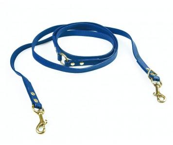 Поводок перестежка для собаки кожаный V823  Индиго | S, XL