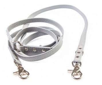 Поводок перестежка для собаки кожаный V823  Серый | S, XL