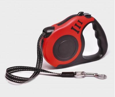 Поводок рулетка XS, для собак до 8 кг, лента, 3 метра, красная