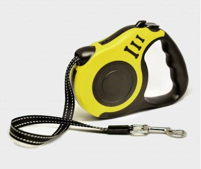 Поводок рулетка XS, для собак до 8 кг, лента, 3 метра, желтая