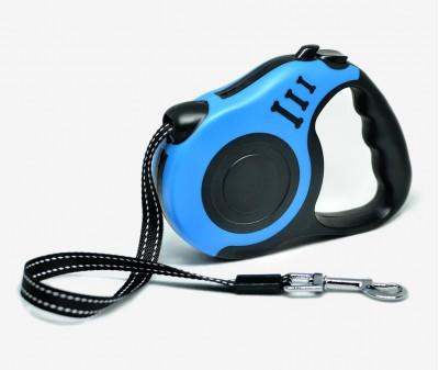 Поводок рулетка XS, для собак до 8 кг, лента, 3 метра, синяя