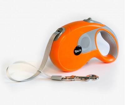 Поводок рулетка XL, для собак от 30-80 кг, лента, 8 метров, оранжевая