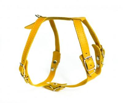 Шлейка кожаная, желтая,  грудь  29-32 см | XS