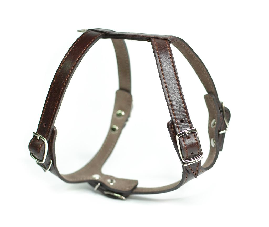 Шлейка кожаная для маленьких собак и кошек, коричневая, шея 20-26 см / грудь  32-35 см