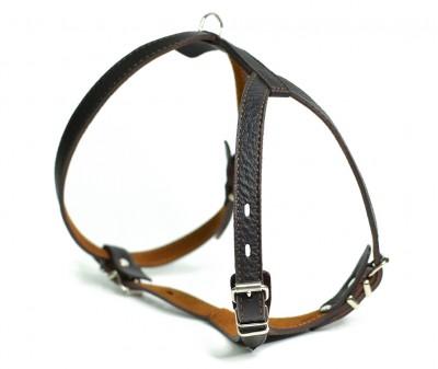 Шлейка кожаная, темно-коричневая, грудь 33-42 см | M