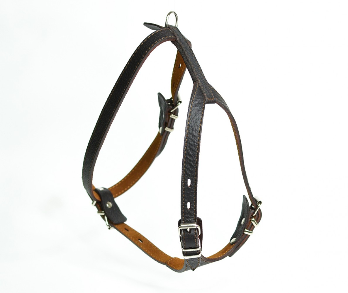 Шлейка кожаная для маленьких собак и кошек, темно-коричневая, шея 17-20 см / грудь  29-32 см