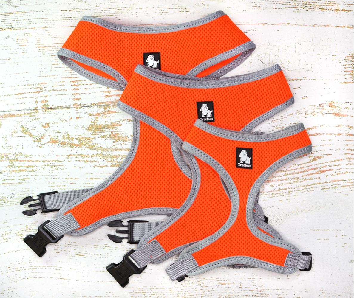 """Шлейка для собак """"Оранжевая"""" , мягкая - размеры S-XL"""